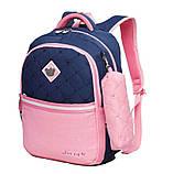 Школьный ортопедический рюкзак с пеналом для девочки 3-4-5 класс (8-9-10-11 лет), сине-розовый портфель, фото 2