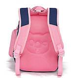 Школьный ортопедический рюкзак с пеналом для девочки 3-4-5 класс (8-9-10-11 лет), сине-розовый портфель, фото 5