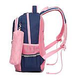 Школьный ортопедический рюкзак с пеналом для девочки 3-4-5 класс (8-9-10-11 лет), сине-розовый портфель, фото 3
