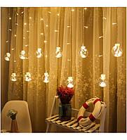 Гирлянда штора шарики-деко, 12штук, 2,5м х 0,8м теплый белый цвет, фото 1