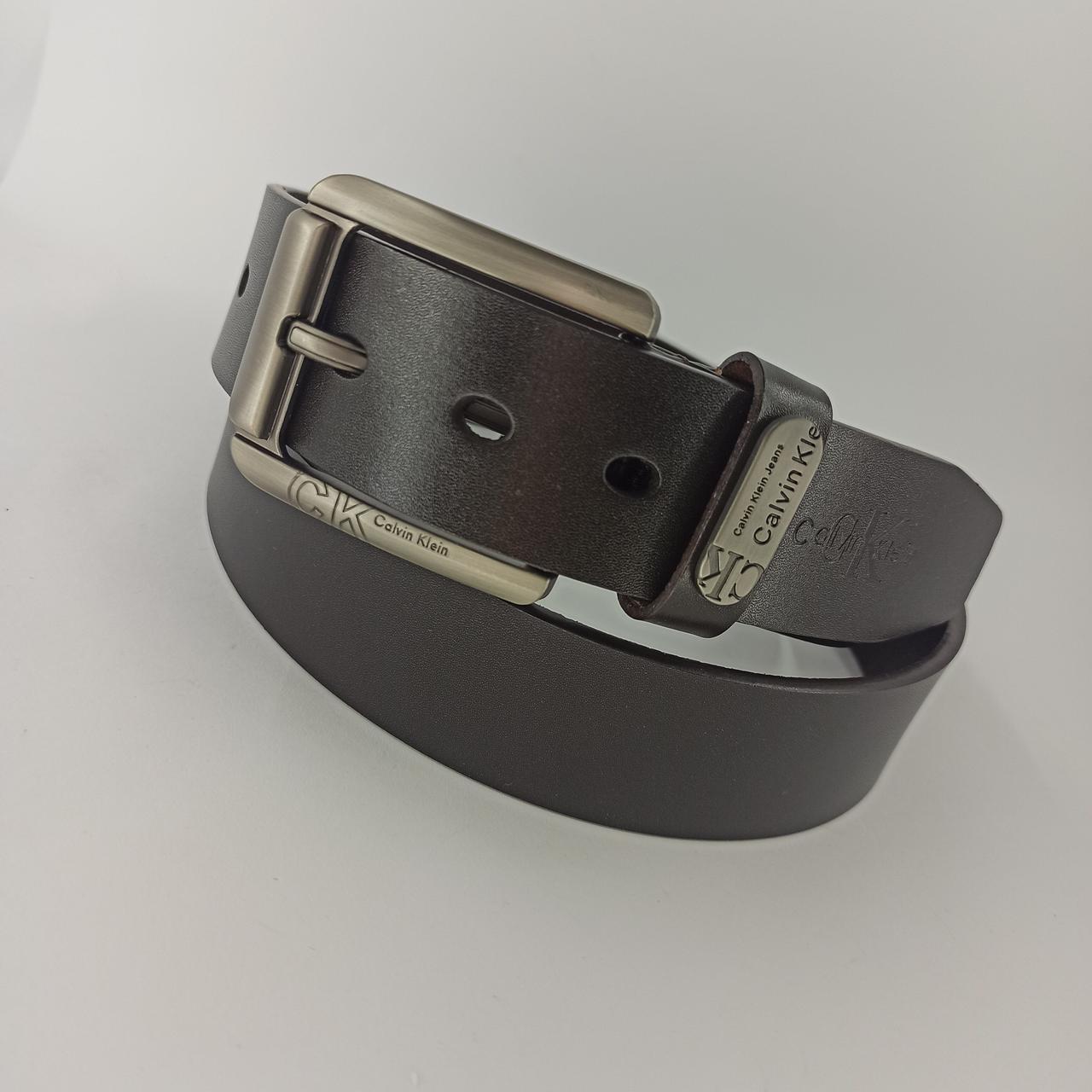 Кожаный мужской ремень с классической пряжкой 105 см zk 04372 brown