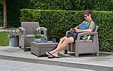 Комплект садовой мебели Allibert by Keter Corfu Balcony Set Cappuccino ( капучино ) искусственный ротанг, фото 2