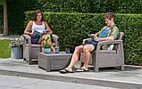 Комплект садовой мебели Allibert by Keter Corfu Balcony Set Cappuccino ( капучино ) искусственный ротанг, фото 4