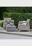 Комплект садовой мебели Allibert by Keter Corfu Balcony Set Cappuccino ( капучино ) искусственный ротанг, фото 7