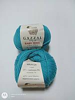Нитки-Пряжа для вязания GAZZAL Baby Wool Газзал Беби Вул №832 Бирюза