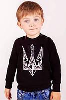 Свитшот для мальчика черный с вышивкой Тризуб