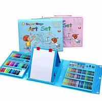 Дитячий набір для малювання,208 предметів,з мольбертом,два кольори