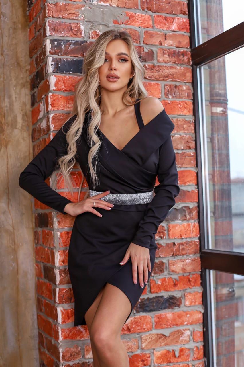 Платье женское чёрное нарядное новогоднее вечернее