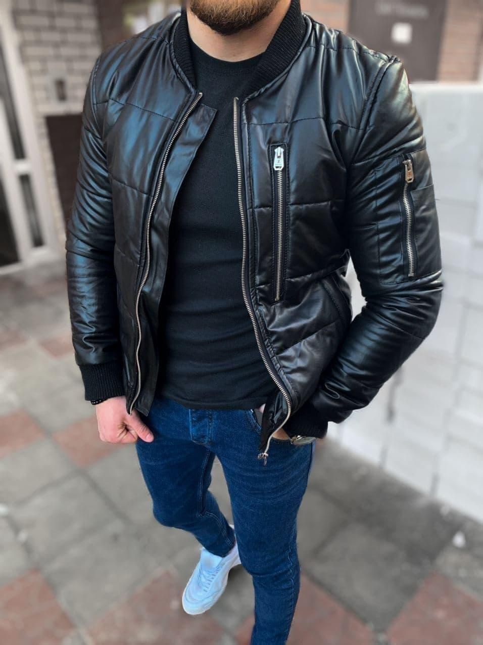 Мужская кожаная демисезонная куртка бомбер M688 черная