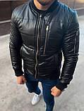 Мужская кожаная демисезонная куртка бомбер M688 черная, фото 3