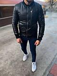 Мужская кожаная демисезонная куртка бомбер M688 черная, фото 4