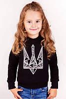 Детский свитшот для девочки черный с вышивкой Тризуб