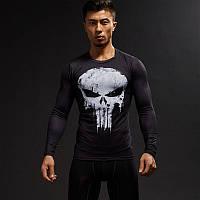 Мужская футболка для фитнеса и бодибилдинга с длинным рукавом Череп (Каратель) (рашгард rashgard), черная, фото 1