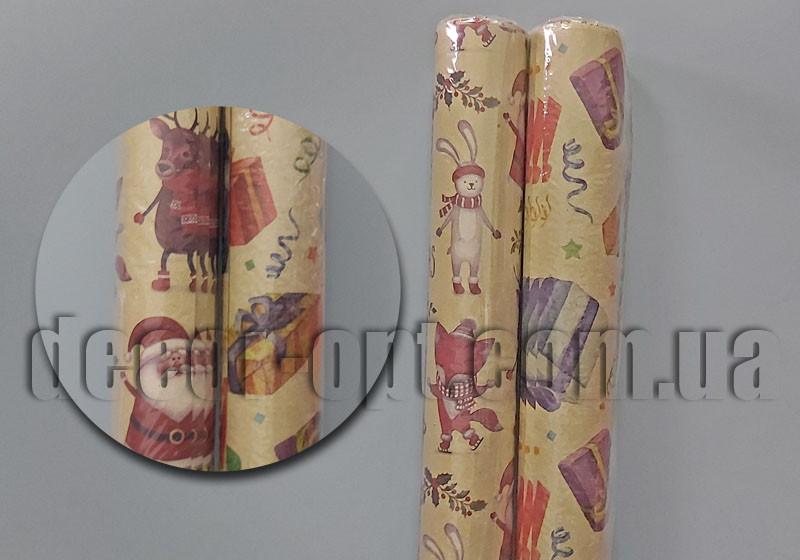 Упаковочная бумага крафт Новый год 0,67х1м/10шт