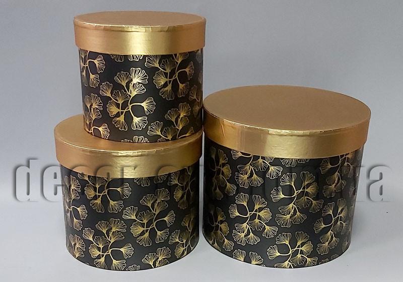 Набор цилиндрических черно-бронзовых коробок Соцветия 3шт W5111J