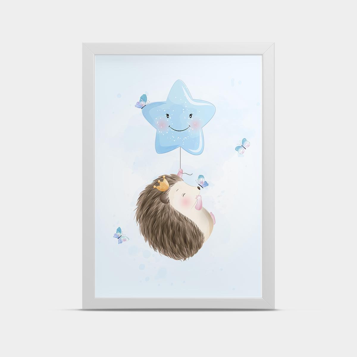 Постер в детскую Ежик Голубой 20*30 см