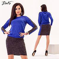 Двухцветное красивое платье 42-44,46-48,50-52,54-56 Ткань ангора софт- Цвет электрик, синий