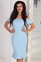 Гарне Плаття з відкритими плечима С ,М, Л. Кольори - блакитний, молочний, синій в горох