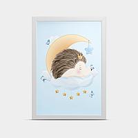 Постер на стену Ежик на луне 20*30 см