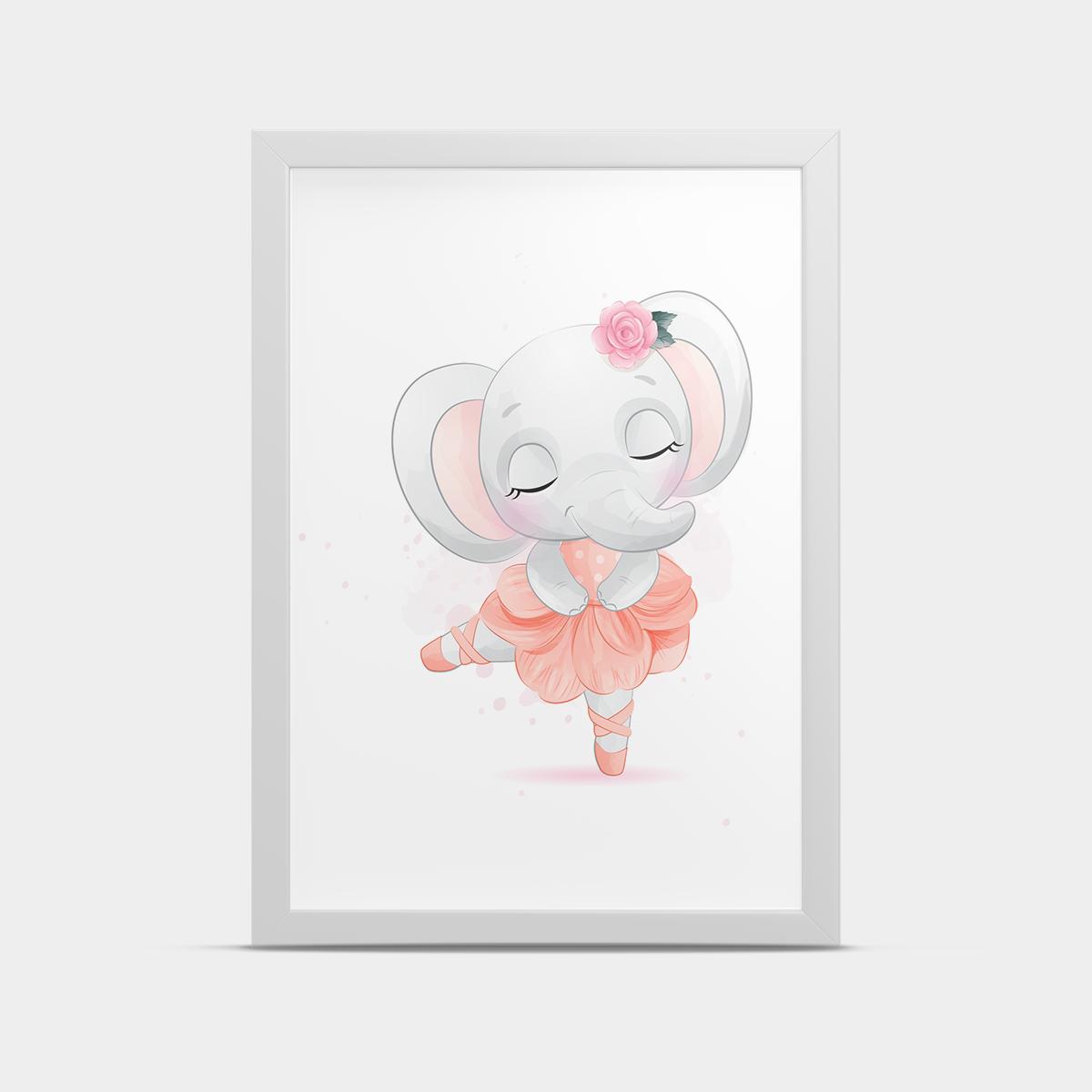 Постер в рамке Балерина Слоник 20*30 см