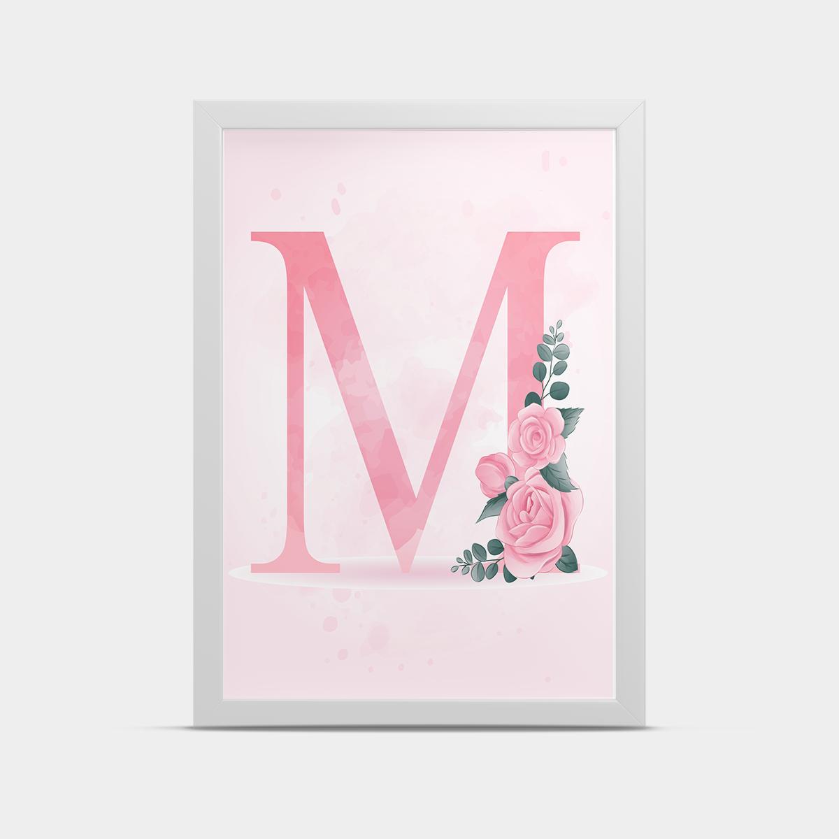Постер на стену любая Буква на английском языке Розовая 20*30 см