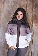 Женская батальная Куртка с капюшоном 48-50, 52-54, 56-58 плащевая ткань, синтепон -150 Цвета на фото