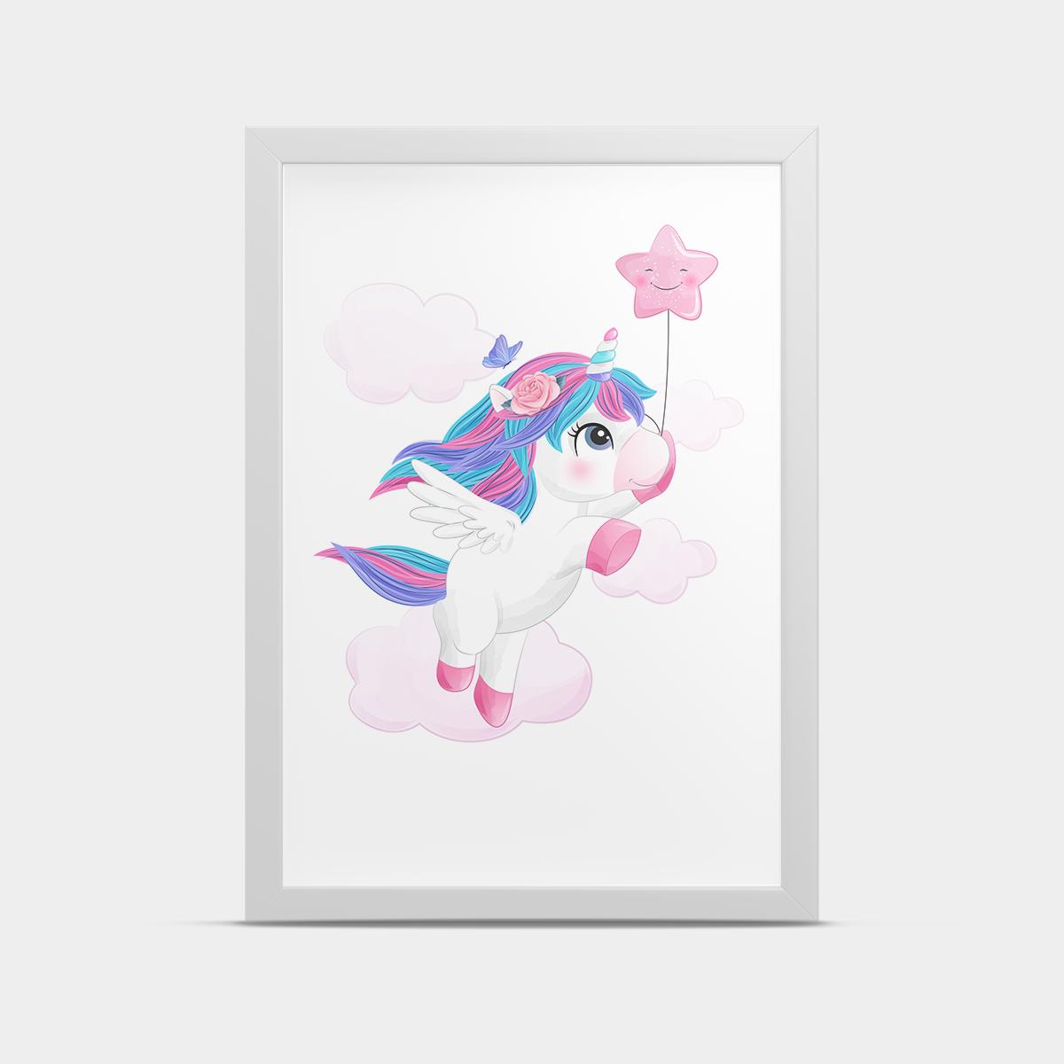 Постер на стену Единорог Разноцветный 20*30 см