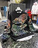 Мужской кофта свитшот M689 черная, фото 4
