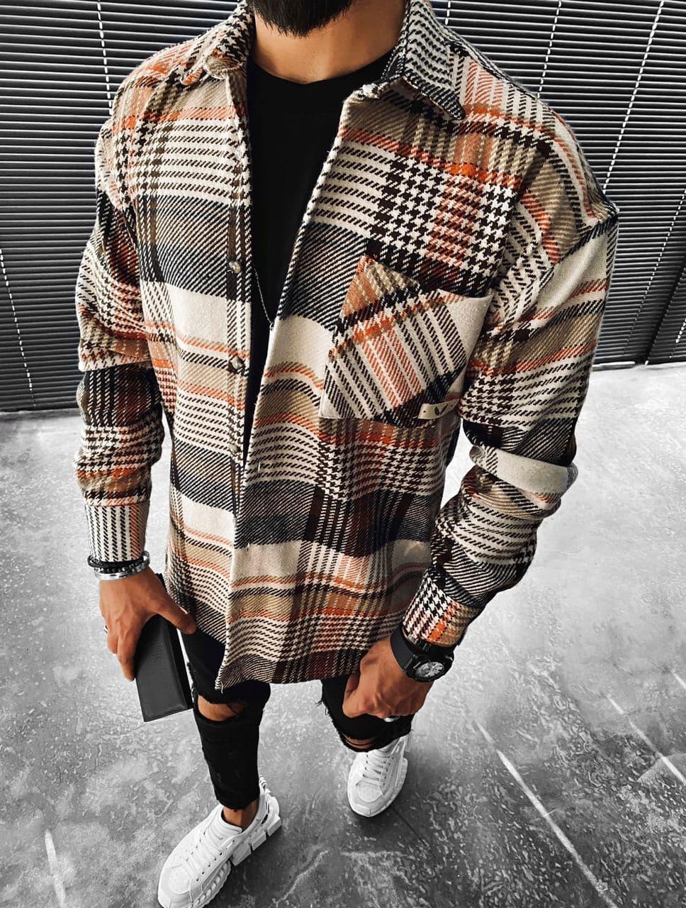 Мужская байковая рубашка в клетку M692 серо-коричневая