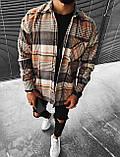 Мужская байковая рубашка в клетку M692 серо-коричневая, фото 2