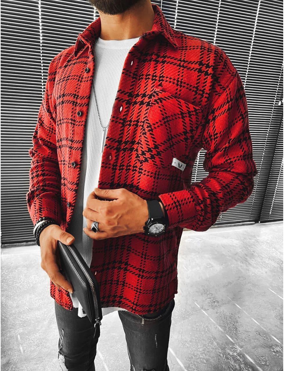 Мужская байковая рубашка в клетку M695 красная