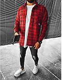 Мужская байковая рубашка в клетку M695 красная, фото 2