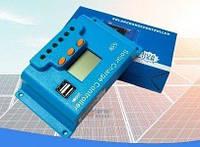 10A PWM (ШИМ) контроллер заряда аккумуляторов от солнечной панели Snaterm 12/24В с дисплеем, 2-мя USB портами