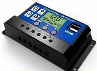 10A PWM (ШИМ) контроллер заряда аккумуляторов от солнечной панели 12/24В с ЖК-дисплеем, 2-мя USB портами