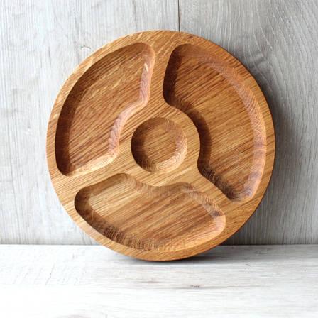 Менажниця дерев'яна чотири сегменти Ø 190 мм, дубоваа менажниця, фото 2