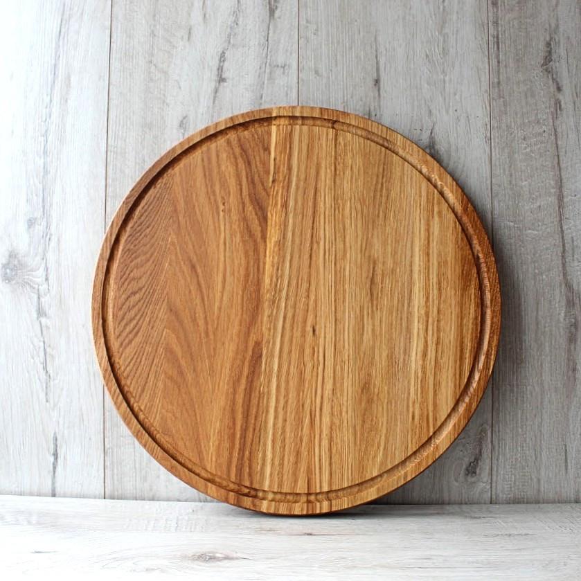 Доска дубовая круглая для нарезки и подачи Ø 350 мм, кухонные деревянные доски