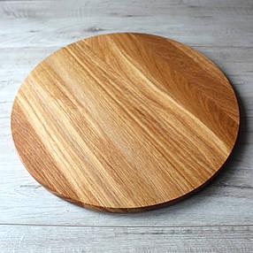 Доска дубовая круглая для нарезки и подачи Ø 350 мм, кухонные деревянные доски, фото 2
