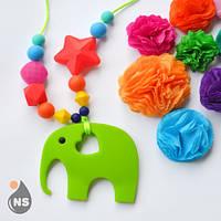 Силиконовые слингобусы с прорезывателем nashsling - зелёный слон Nashsling