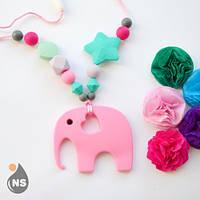 Силиконовые слингобусы с прорезывателем nashsling - розовый слон Nashsling
