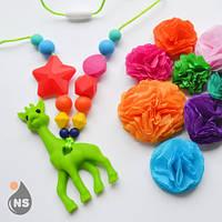Силиконовые слингобусы с прорезывателем nashsling - зеленый жираф Nashsling