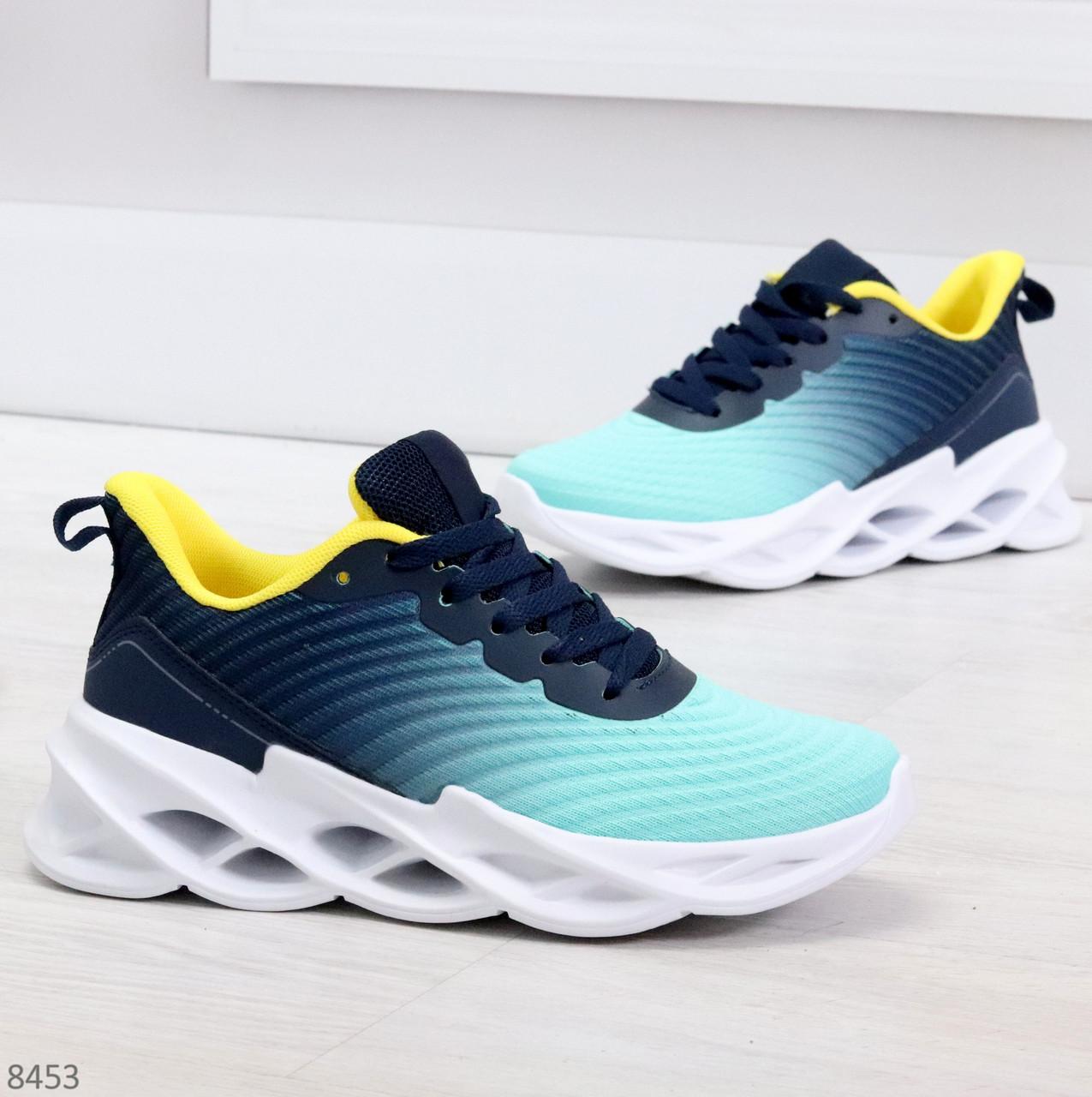 Яркие люксовые молодежные мятные голубые текстильные женские кроссовки
