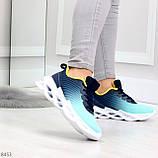 Яркие люксовые молодежные мятные голубые текстильные женские кроссовки, фото 3