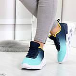 Яркие люксовые молодежные мятные голубые текстильные женские кроссовки, фото 4