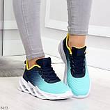 Яркие люксовые молодежные мятные голубые текстильные женские кроссовки, фото 5
