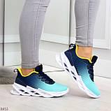 Яркие люксовые молодежные мятные голубые текстильные женские кроссовки, фото 6
