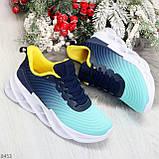 Яркие люксовые молодежные мятные голубые текстильные женские кроссовки, фото 8