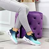 Яркие люксовые молодежные мятные голубые текстильные женские кроссовки, фото 10