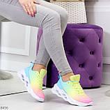 Яркие люксовые молодежные мультиколор омбре текстильные женские кроссовки, фото 5