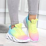 Яркие люксовые молодежные мультиколор омбре текстильные женские кроссовки, фото 6