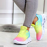 Яркие люксовые молодежные мультиколор омбре текстильные женские кроссовки, фото 7